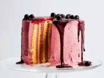 Lemon and blackcurrant stripe cake