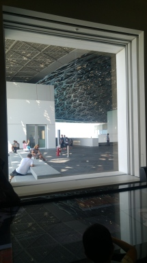 Different window views from inside the Louvre Abu Dhabi