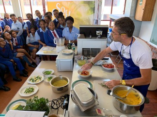 Chef Victor Lucas workshopping with the pupils of Pro Arte