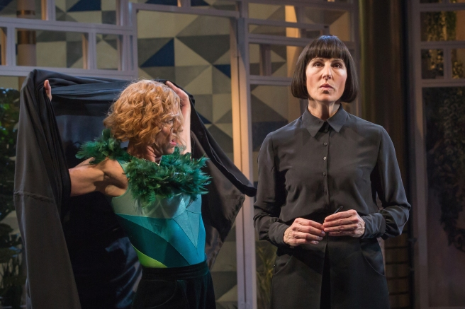 NT Doon Mackichan (Feste) Tamsin Greig (Malvolia). Picture Marc Brenner
